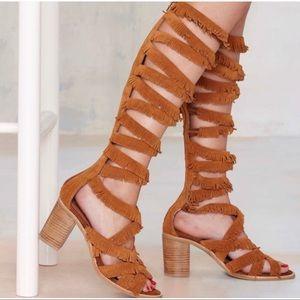 Jeffrey Campbell Enyo SuedeFringe Gladiator Sandal